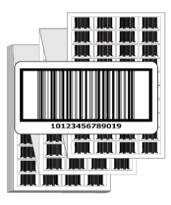 Preprinted Labels with GTIN-14 Barcode